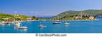 vis, isla, iglesia, y, puerto, panorama
