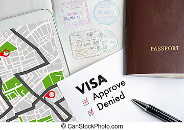 Visa and passport to approved stamped on a document top view in Immigration Visa approve