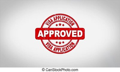 Visa Application Approved Signed Stamping Text Wooden Stamp Animation. Red Ink on Clean White Paper Surface Background with Green matte Background Included.