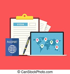 Visa application. Clipboard with visa application form, passport, pen and laptop with map of the world and map markers. World travel, tourism, holidays concepts. Flat design. Vector illustration