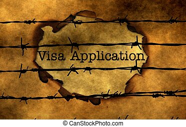 Visa application concept against barbwire