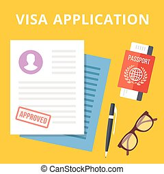 Visa application flat illustration concept. Top view. Modern...