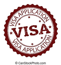 Grunge rubber stamp with text Visa application, vector illustration