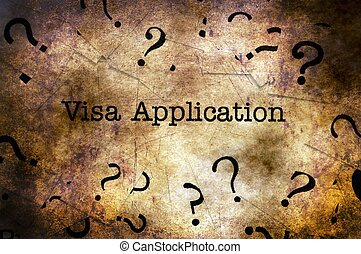 Visa application text on grunge background
