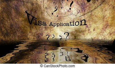 Visa Application text reflecting in water