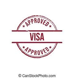 Visa approved grunge round vintage rubber stamp vector image