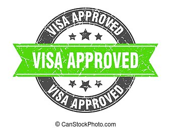 visa approved round stamp with ribbon. label sign