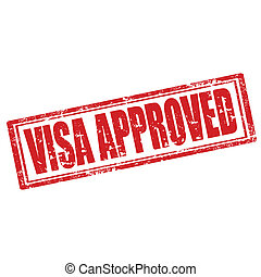 Visa Approved-stamp - Grunge rubber stamp with text Visa...