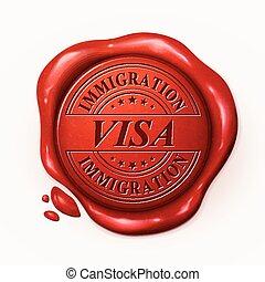 visa, cachet, 3d, rouges, cire