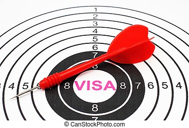 visa, cible, concept