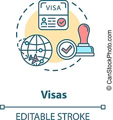 Visa concept icon. Abroad travel. Foreign country document ...