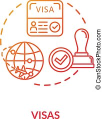 Visa concept icon. Abroad trip. Foreign country document ...