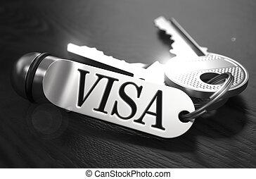 Visa Concept. Keys with Keyring. - Visa Concept. Keys with...