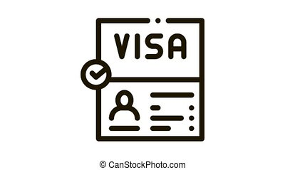 visa document confirmation Icon Animation. black visa document confirmation animated icon on white background