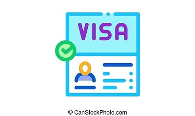 visa document confirmation Icon Animation. color visa document confirmation animated icon on white background