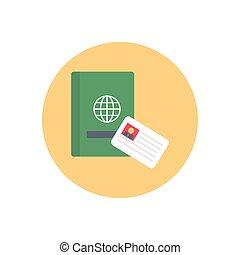 visa  flat color icon