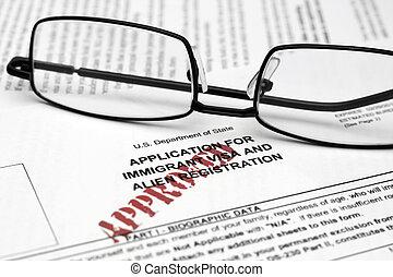 visa, forma, inmigrante
