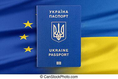 visa-free, régime, entre, ukraine, et, les, union européenne, -, concept.