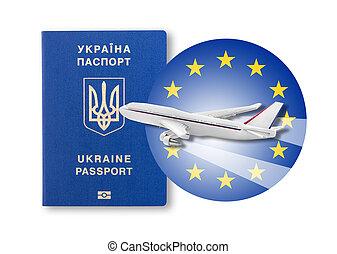 Visa-free regime between Ukraine and the European Union - concept.