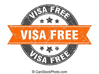 visa free round stamp with ribbon. label sign