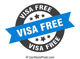visa free sign. round ribbon sticker. isolated tag