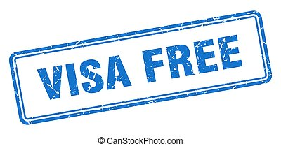 visa free stamp. square grunge sign on white background