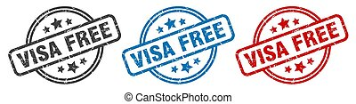 visa free stamp. visa free round isolated sign. visa free label set
