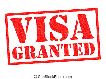 VISA GRANTED red Rubber Stamp over a white background.