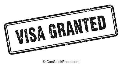 visa granted stamp. square grunge sign on white background...