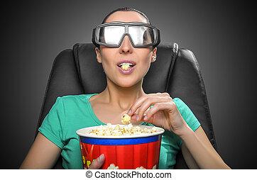 visa, hålla ögonen på, 3, cinema.