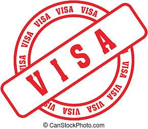 visa, palabra, estampilla