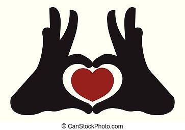 visa, räcker, hjärta