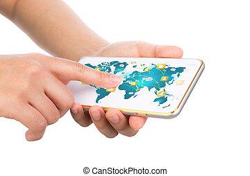 visa, rörligt meddelande, nymodig, hand, ringa, t, holdingen, teknologi