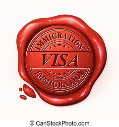 visa, sello, 3d, rojo, cera
