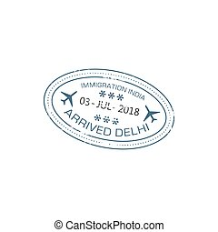 Visa stamp arrived to India, Delhi airport