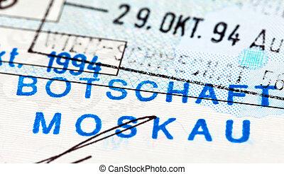 Visa stamp in passport. Fragment