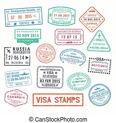 Visa stamps or passport signs of immigration - Set of...