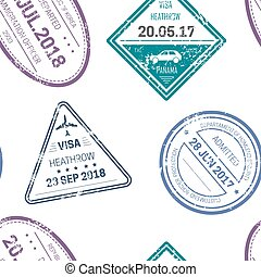 Visa stamps or seals seamless pattern traveling and country ...