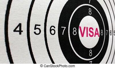 Visa target concept dolly shot