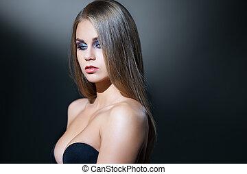 visage, beauty., neckline, diep, het poseren, model