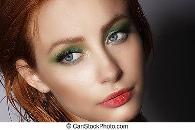 visage., cicatrizarse, retrato, de, joven, bastante, mujer