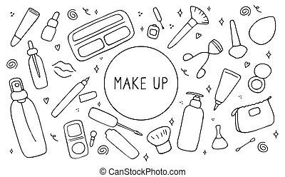 visage., cura, simboli, icona, su, prodotti, differente, mano, vettore, pelle, disegnato, set., accessoires, collezione, femmina, fare, illustrazione, bellezza