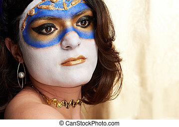 visage femme, à, peint, masque
