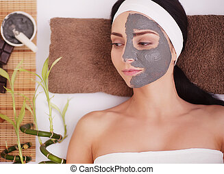 visage femme, boue, mask., traitement, facial, argile, spa, salon.
