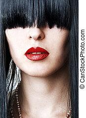visage femme, lèvres, closeup, portrait, rouges