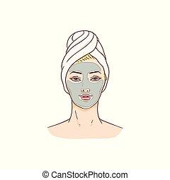visage femme, masque, vecteur, traitement, facial, peau