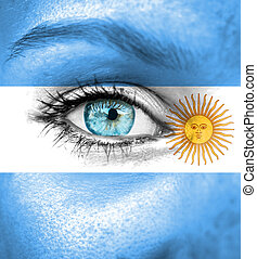 visage femme, peint, à, drapeau, de, argentine