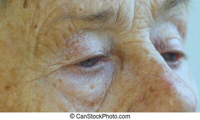 visage femme, vieilli, personnes agées, années, personne, 81