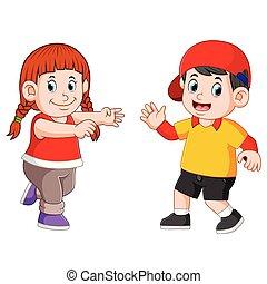 visage heureux, enfants, ensemble, danse