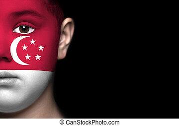 visage humain, peint, à, drapeau, de, péché